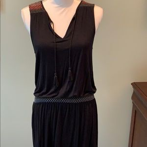 Black light rayon/spandex dress with elastic waist